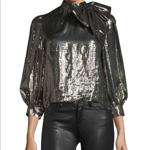 Alice + Olivia Gold Metallic Bow Blouse